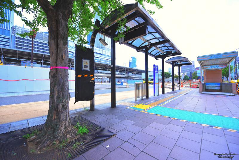 リニア中央新幹線名古屋駅 準備工事の進む太閤通口 高速バスのりばを再び移設?工事ヤードを拡大か 2017.8.6